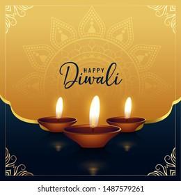 beautiful golden happy diwali greeting design