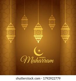 beautiful golden happy muharaam festival background design - Shutterstock ID 1792922779