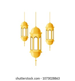 Beautiful golden light, lamps, night lights, used for holidays Ramadan Kareem, Eid al Adha, Mawlid An-Nabi. Arabic, islamic lantern, religious decoration with ornament. Vector illustration.