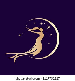 Beautiful golden mermaid silhouette with long, flowing hair in the moonlight.Fantasy illustration.
