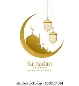 beautiful golden moon and mosque ramadan kareem design