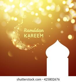 Beautiful golden moon, Ramadan Kareem greeting on gold bokeh background.
