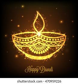 Beautiful Golden Oil Lit Lamp (Diya) on shiny brown background, Glowing Indian Festival background, Elegant Greeting Card design for Happy Diwali celebration.