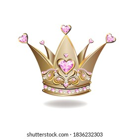Beautiful golden princess crown with pearls and jewels. Vector illustration on white background.