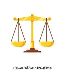Beautiful golden scales, mechanical device for measuring the weight and mass of products. Concept of weighing decisions, judgments, symbol of justice and balance. Vector illustration isolated.