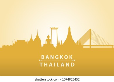 Beautiful golden silhouette of Bangkok Thailand travel landmark background wallpaper vector eps10