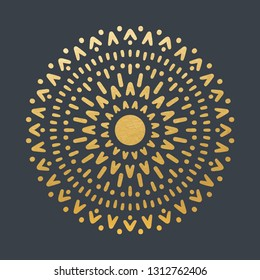 Beautiful Golden Sun With Structure. Hand Drawn. Ornamental Mandala.