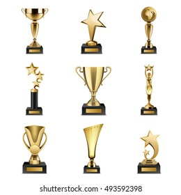 Beautiful golden trophy cups and awards of different shape realistic set isolated on white background vector illustration