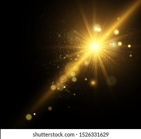 Beautiful golden vector illustration of a star on a translucent background with gold dust and glitters. A magnificent light base for your design.