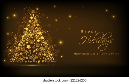 Beautiful golden Xmas tree on shiny brown background for Merry Christmas, New Year and Happy Holidays celebrations.