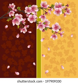 Beautiful golden-brown background with sakura blossom - Japanese cherry tree with falling petals. Greeting or invitation card in oriental style. Place for text. Vector illustration