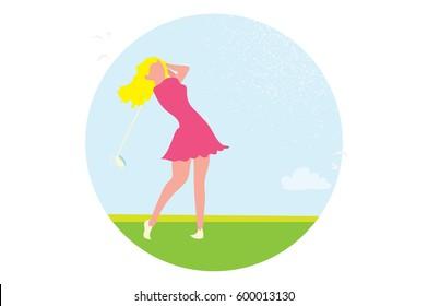 Beautiful golf girl. Female golfer. Sport game Tournament.