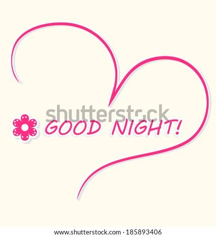 Beautiful Good Night Card Pink Handdrawn Stock Vector Royalty Free