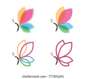 beautiful graceful butterfly vector logo design