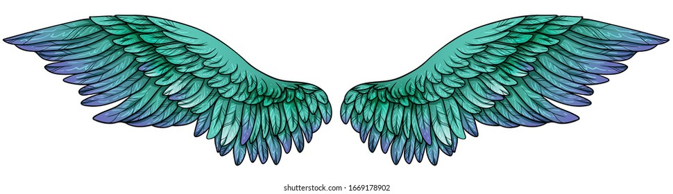 Beautiful gradient turquoise green violet wings, vector