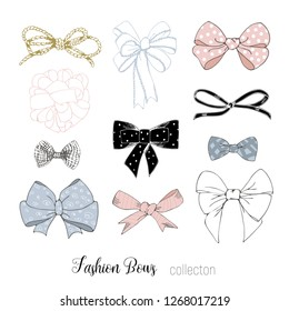 Beautiful graphic bows collection - vector graphics