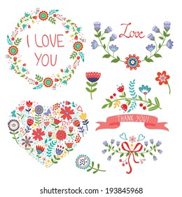 Beautiful graphic floral elements for life events