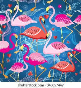 beautiful graphic pattern from different flamingo on a blue background
