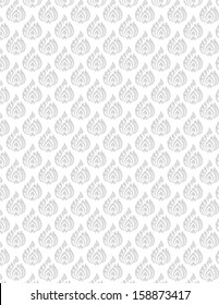 beautiful gray Thai pattern seem floral, fern, leaves, lotus and fire pattern on white background for page and ground-paper