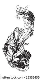 Beautiful Greek goddess. Tattoo, sticker on the wall, pattern.