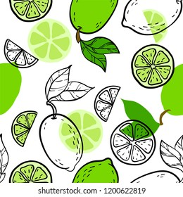Beautiful green, black and white seamless doodle pattern with cute doodle limes sketch. Hand drawn trendy background. design background greeting cards, invitations, fabric and textile.