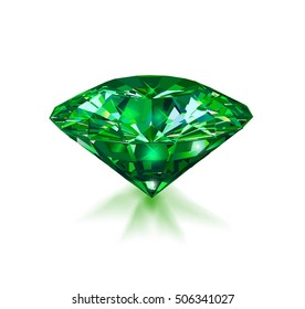 Beautiful green gem emerald on white background. Vector illustration.