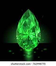 Beautiful green gem on a black background. Vector illustration.