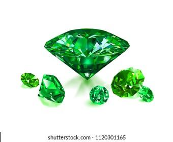 Beautiful green gems emeralds on white background. Vector illustration.
