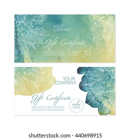 Beautiful green gift certificate templates with nice tropical ornament and watercolor background.