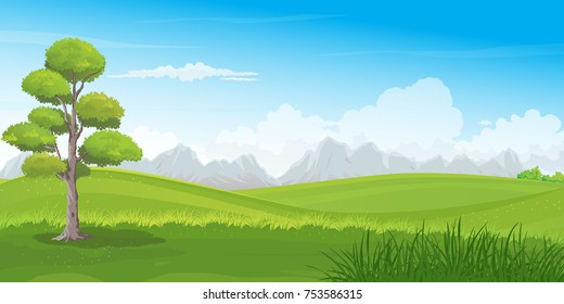 Beautiful green hills vector illustration with big tree and mountains row on the horizon. Summer landscape of countryside rolling hills.