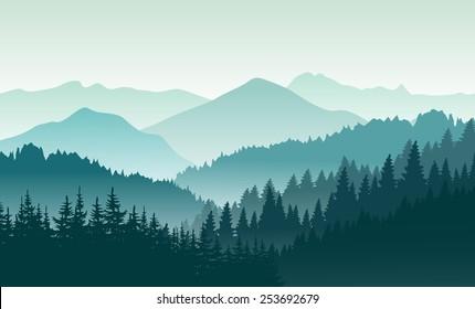 Beautiful green mountain landscape. Vector illustration