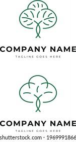 Beautiful green plant tree garden park logo identity