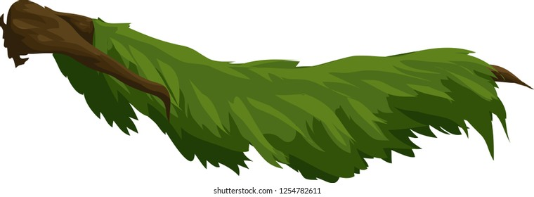 Beautiful Green Tree branch isolated on white - vector illustration - grass branch tree vector - 2d