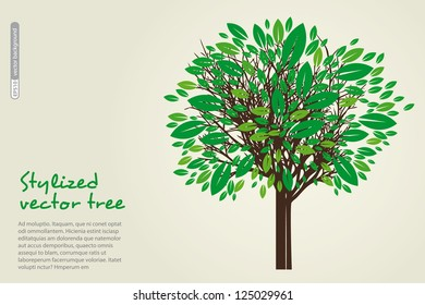 The beautiful green tree, place for text. Vector.