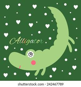Beautiful greeting card with alligator