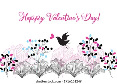 Beautiful greeting card with a bird in love on a vegetable background. Example of a Valentine Card for a holiday