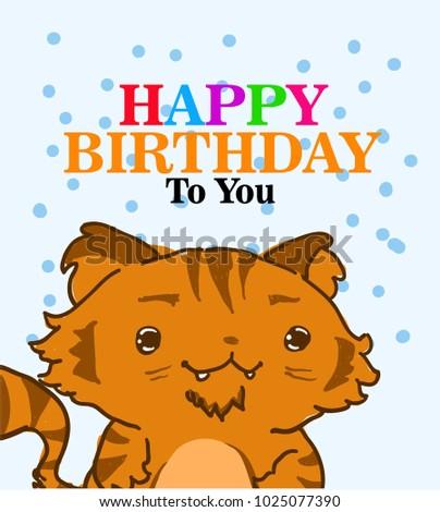 Beautiful Greeting Card With Cat Familyfacebook Logo