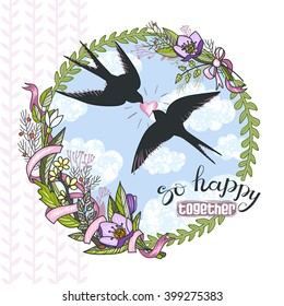 """Beautiful greeting card """"Cute swallows in love"""", vector illustration. Background with floral wreath and sky."""