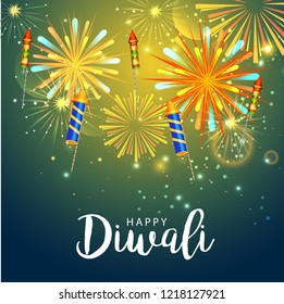 Beautiful greeting card design for festival of diwali celebration.