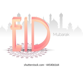 Beautiful greeting card design with glossy 3D text Eid on mosque silhouetted shiny white background for famous festival of Muslim community celebration.