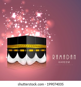 Beautiful greeting card design with holy view of Qaba Shareef in the month of Ramadan Kareem.