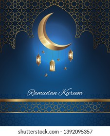 Beautiful greeting card design for ramadan kareem with Crescent Moon and lantern on The Geometry Background, Vector Illustration.