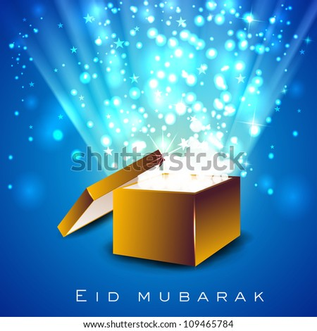 Beautiful greeting card eid mubarak gift stock vector royalty free beautiful greeting card of eid mubarak with gift box and space for your message eps m4hsunfo