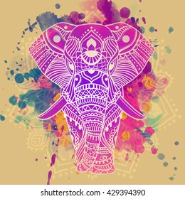 Beautiful Greeting card with elephant Frame of animals elephant vector illustration design template for textile Hand drawn map with Elephant bright prints on T shirts and cups canvas of another object