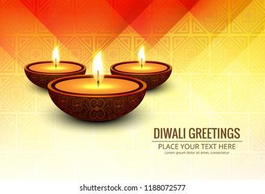 Beautiful greeting card for festival of diwali celebration design