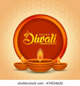 Beautiful greeting card for festival of diwali celebration.