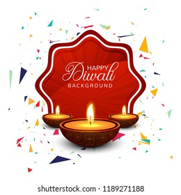 Beautiful greeting card for festival happy diwali background vector
