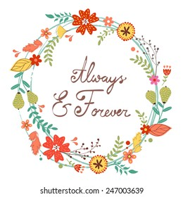 Beautiful greeting card with floral wreath. Can be used for wedding and birthday invitations and love cards