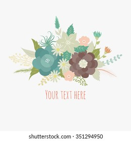 Beautiful greeting card with flowers.  It can be used as greeting card, invitation card for wedding,birthday and other holiday