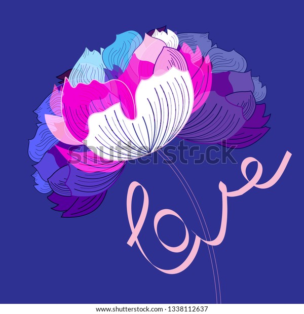 Beautiful greeting card with flowers on a blue background